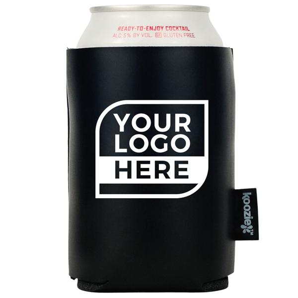 Koozie® Bulk Logo Vegan Leather Can Cooler   1 Color 2 Sides