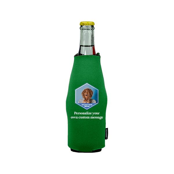 Koozie® Custom Photo Polygon Neoprene Zip-Up Bottle Cooler | 1 Side
