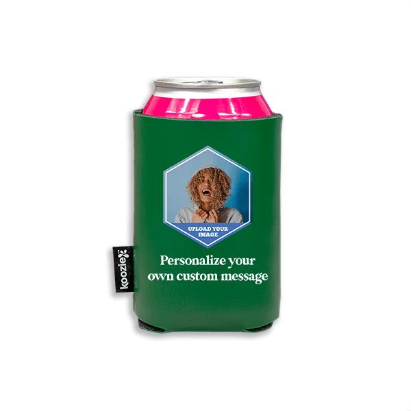 Koozie® Custom Photo Polygon Vegan Leather Can Cooler | 1 Side
