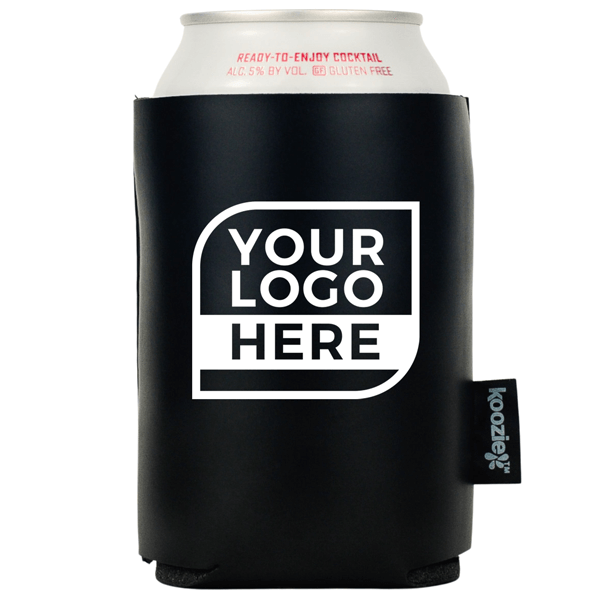 One Color Logo Koozie® Vegan Leather Single Sided Can Cooler