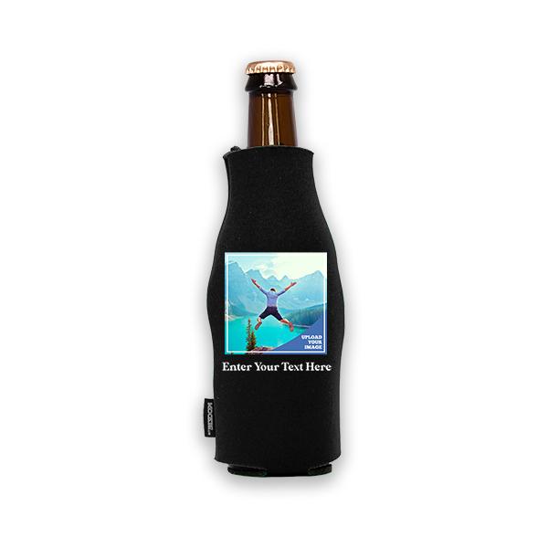 Koozie® Bulk Custom Photo Square Foam Zip-Up Bottle Cooler | 1 Side