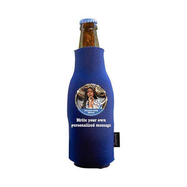 Koozie® Custom Photo Circle Foam Zip-Up Bottle Cooler | 1 Side