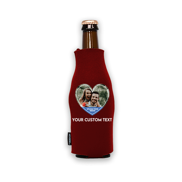 Koozie® Custom Photo Heart Foam Zip-Up Bottle Cooler   1 Side