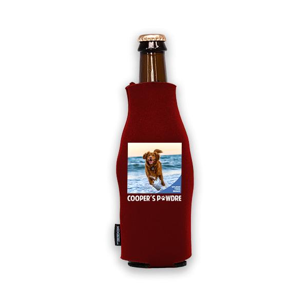 Koozie® Custom Photo Pawdre Foam Zip-Up Bottle Cooler | 1 Side