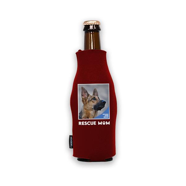 Koozie® Custom Photo Rescue Mom Foam Zip-Up Bottle Cooler   1 Side