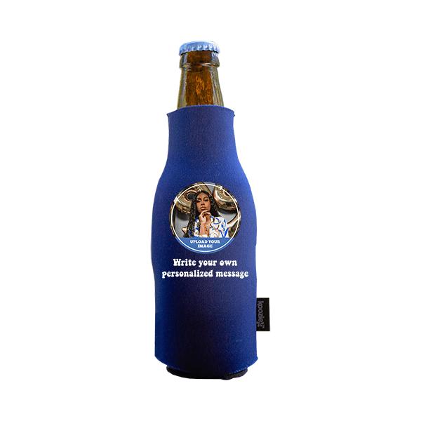 Koozie® Custom Photo Circle Neoprene Zip-Up Bottle Cooler | 1 Side