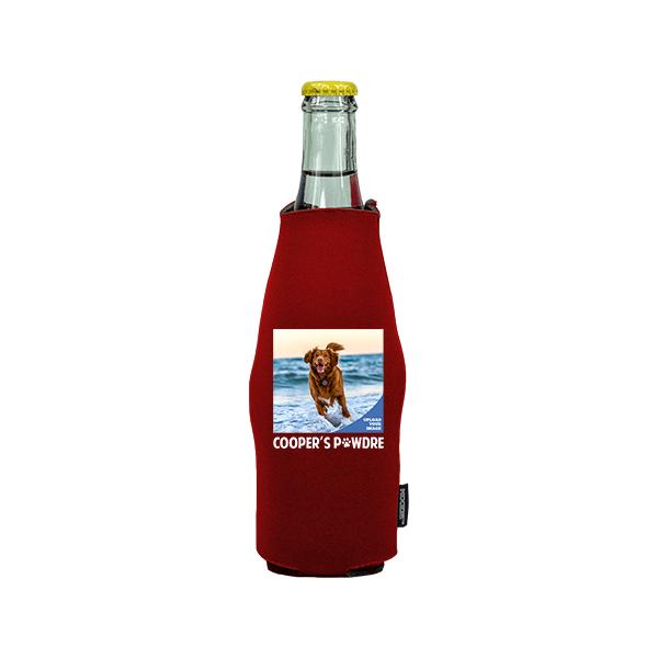 Koozie® Custom Photo Pawdre Neoprene Zip-Up Bottle Cooler   1 Side