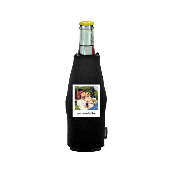 Koozie® Custom Photo Polaroid Neoprene Zip-Up Bottle Cooler   1 Side