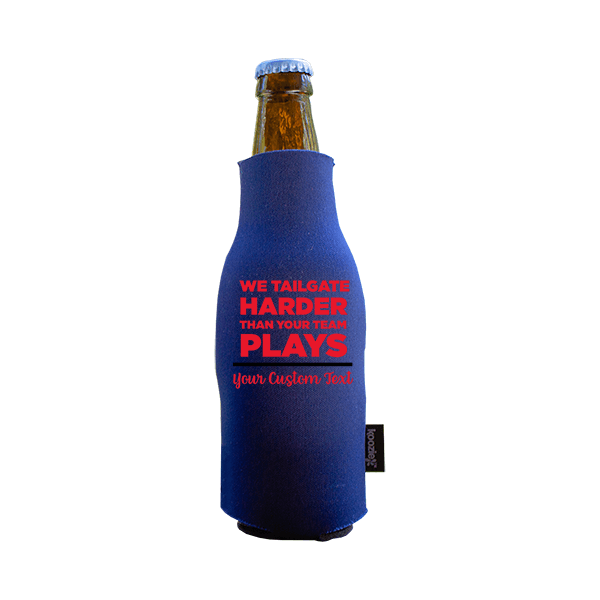 Koozie? We Tailgate Harder Neoprene Zip-Up Bottle Cooler | 1 Side