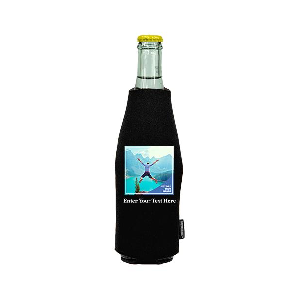 Koozie® Bulk Custom Photo Square Neoprene Zip-Up Bottle Cooler | 1 Side