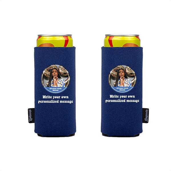 Koozie® Custom Photo Circle Slim Can Cooler   2 Sides