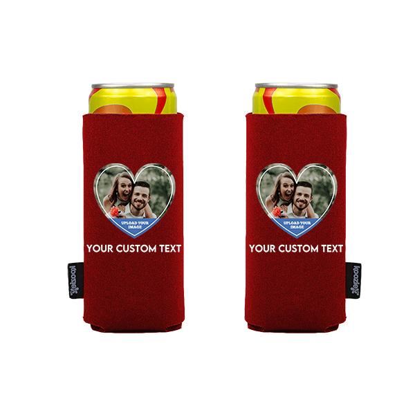 Koozie® Custom Photo Heart Slim Can Cooler   2 Sides