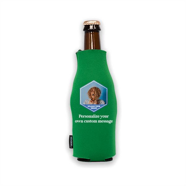 Koozie® Custom Photo Polygon Foam Zip-Up Bottle Cooler | 1 Side