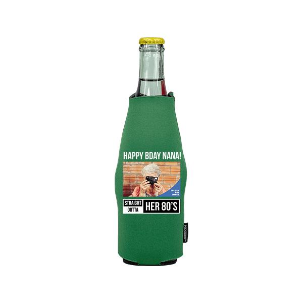 Koozie® Custom Photo Straight Outta Neoprene Zip-Up Bottle Cooler | 1 Side