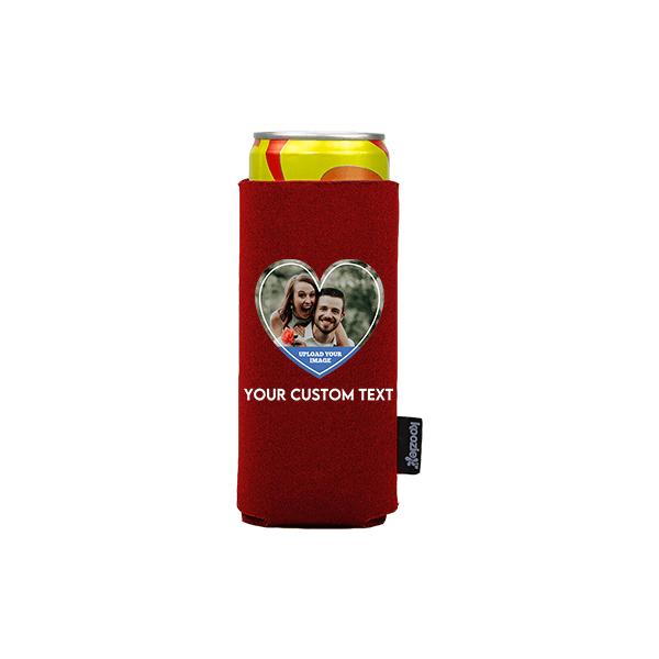 Koozie® Custom Photo Heart Slim Can Cooler   1 Side