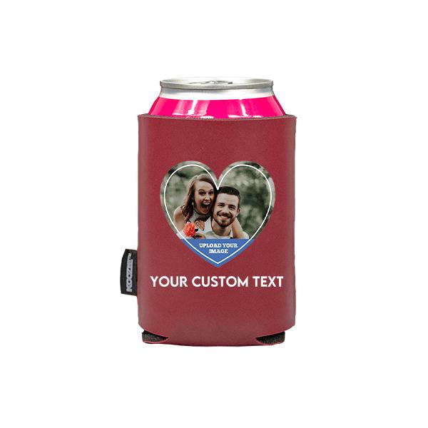 Koozie® Custom Photo Heart Vegan Leather Can Cooler | 1 Side