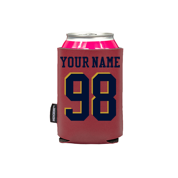 Koozie? Custom Name and Number Vegan Leather Can Cooler | 1 Side