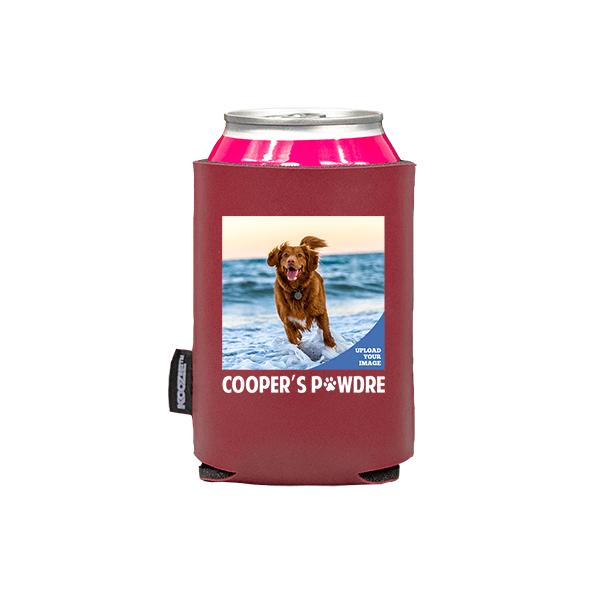 Koozie® Custom Photo Pawdre Vegan Leather Can Cooler   1 Side