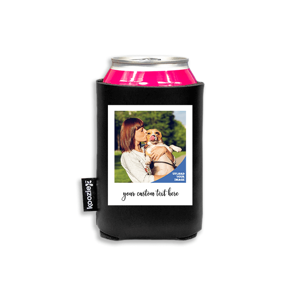 Koozie® Custom Photo Polaroid Vegan Leather Can Cooler | 1 Side
