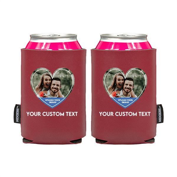 Koozie® Custom Photo Heart Vegan Leather Can Cooler   2 Sides