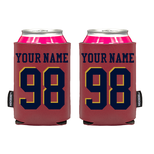 Koozie? Custom Name and Number Vegan Leather Can Cooler | 2 Sides