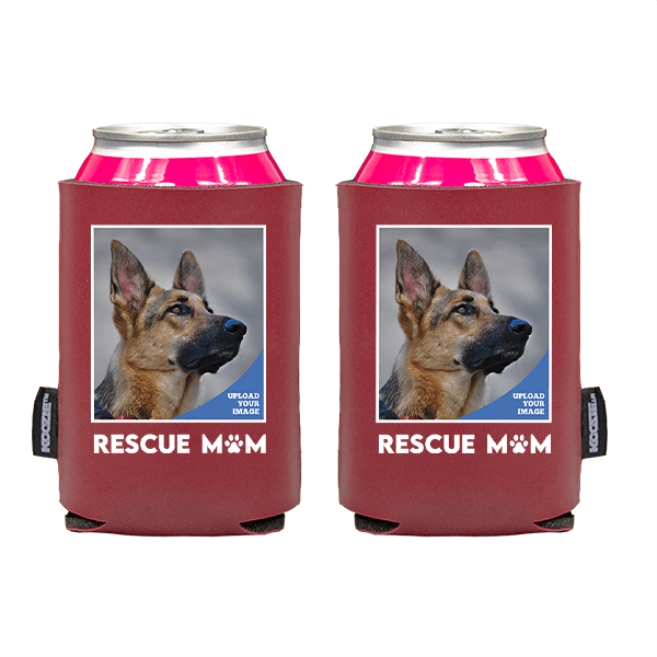 Koozie® Custom Photo Rescue Mom Vegan Leather Can Cooler   2 Sides