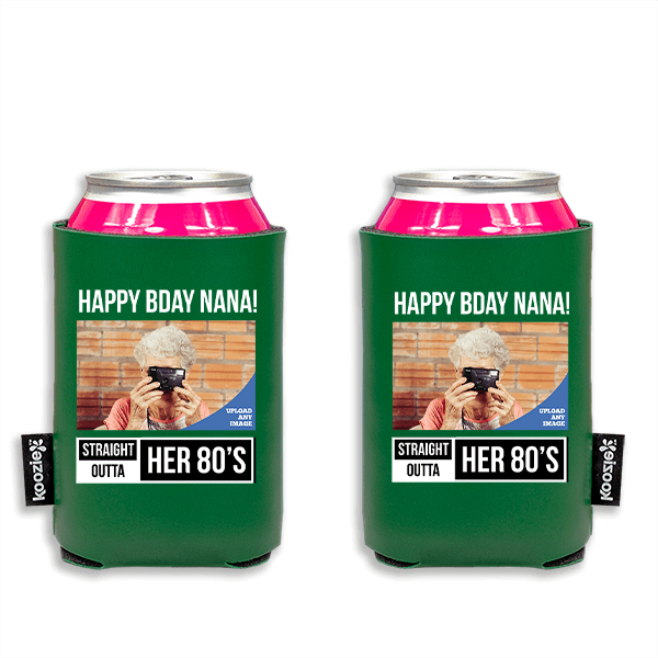 Koozie® Custom Photo Straight Outta Vegan Leather Can Cooler | 2 Sides