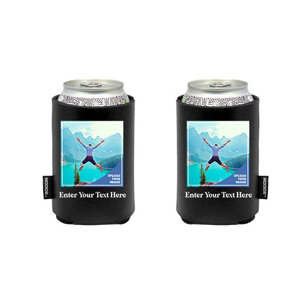 Koozie® Bulk Custom Photo Square Vegan Leather Can Cooler   2 Sides
